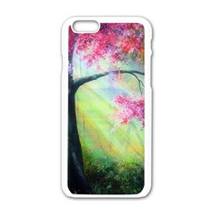 Forests Stunning Glimmer Paintings Sunlight Blooms Plants Love Seasons Traditional Art Flowers Sunsh Apple Iphone 6/6s White Enamel Case