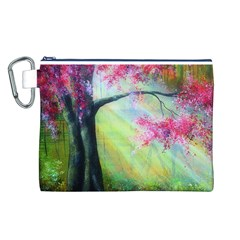 Forests Stunning Glimmer Paintings Sunlight Blooms Plants Love Seasons Traditional Art Flowers Sunsh Canvas Cosmetic Bag (l)