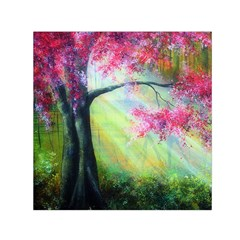 Forests Stunning Glimmer Paintings Sunlight Blooms Plants Love Seasons Traditional Art Flowers Sunsh Small Satin Scarf (Square)
