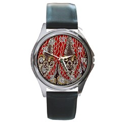 Indian Traditional Art Pattern Round Metal Watch