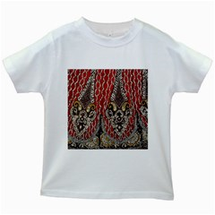 Indian Traditional Art Pattern Kids White T Shirts