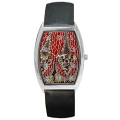 Indian Traditional Art Pattern Barrel Style Metal Watch