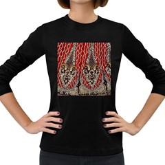 Indian Traditional Art Pattern Women s Long Sleeve Dark T Shirts
