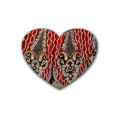 Indian Traditional Art Pattern Heart Coaster (4 Pack)