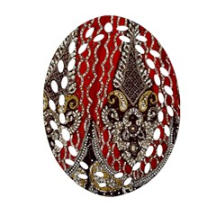 Indian Traditional Art Pattern Oval Filigree Ornament (two Sides)