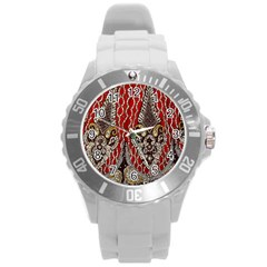 Indian Traditional Art Pattern Round Plastic Sport Watch (L)