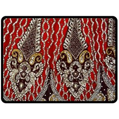 Indian Traditional Art Pattern Double Sided Fleece Blanket (large)