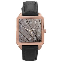 Sea Fan Coral Intricate Patterns Rose Gold Leather Watch