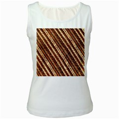 Udan Liris Batik Pattern Women s White Tank Top