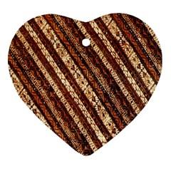 Udan Liris Batik Pattern Heart Ornament (two Sides)