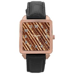 Udan Liris Batik Pattern Rose Gold Leather Watch