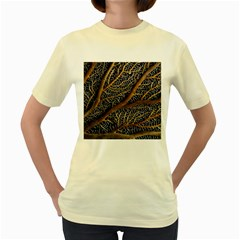 Trees Forests Pattern Women s Yellow T Shirt