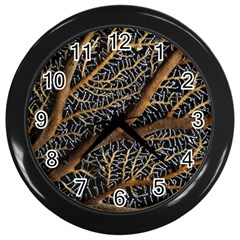 Trees Forests Pattern Wall Clocks (black)