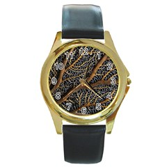 Trees Forests Pattern Round Gold Metal Watch
