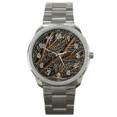 Trees Forests Pattern Sport Metal Watch