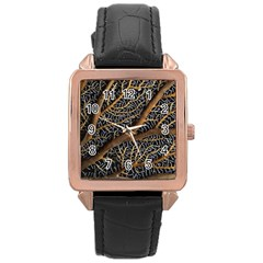 Trees Forests Pattern Rose Gold Leather Watch