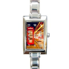 Telephone Box London Night Rectangle Italian Charm Watch