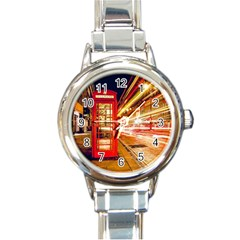 Telephone Box London Night Round Italian Charm Watch