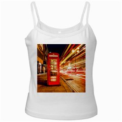 Telephone Box London Night White Spaghetti Tank