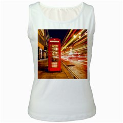 Telephone Box London Night Women s White Tank Top