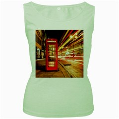 Telephone Box London Night Women s Green Tank Top