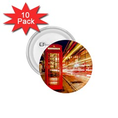 Telephone Box London Night 1 75  Buttons (10 Pack)