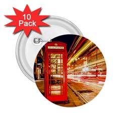 Telephone Box London Night 2 25  Buttons (10 Pack)
