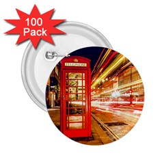 Telephone Box London Night 2 25  Buttons (100 Pack)
