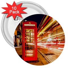 Telephone Box London Night 3  Buttons (10 Pack)