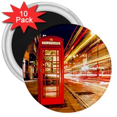 Telephone Box London Night 3  Magnets (10 Pack)