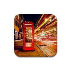 Telephone Box London Night Rubber Square Coaster (4 Pack)