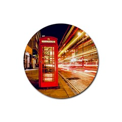 Telephone Box London Night Rubber Round Coaster (4 Pack)