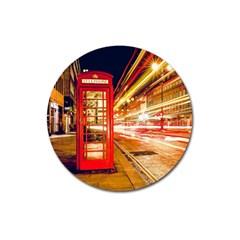 Telephone Box London Night Magnet 3  (round)