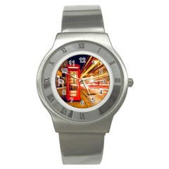 Telephone Box London Night Stainless Steel Watch