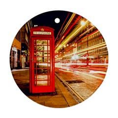 Telephone Box London Night Round Ornament (two Sides)