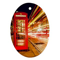 Telephone Box London Night Oval Ornament (Two Sides)