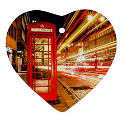 Telephone Box London Night Heart Ornament (two Sides)