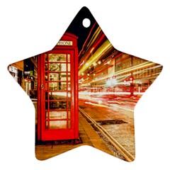 Telephone Box London Night Star Ornament (two Sides)