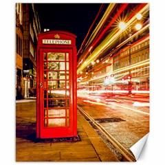 Telephone Box London Night Canvas 8  X 10