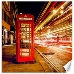 Telephone Box London Night Canvas 16  X 16