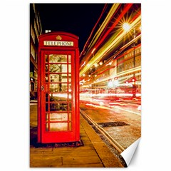 Telephone Box London Night Canvas 20  X 30