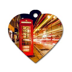Telephone Box London Night Dog Tag Heart (one Side)