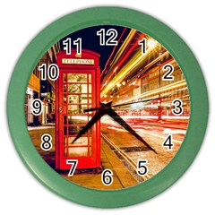 Telephone Box London Night Color Wall Clocks