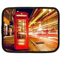 Telephone Box London Night Netbook Case (large)