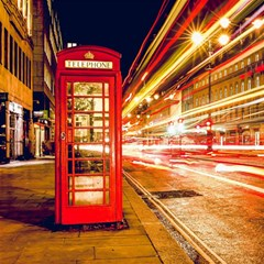 Telephone Box London Night Magic Photo Cubes