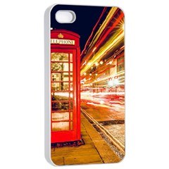 Telephone Box London Night Apple iPhone 4/4s Seamless Case (White)