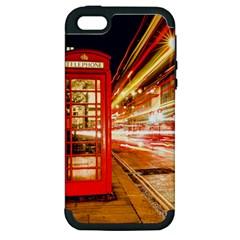 Telephone Box London Night Apple iPhone 5 Hardshell Case (PC+Silicone)