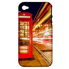 Telephone Box London Night Apple Iphone 4/4s Hardshell Case (pc+silicone)