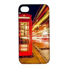 Telephone Box London Night Apple Iphone 4/4s Hardshell Case With Stand
