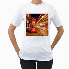 Telephone Box London Night Women s T-Shirt (White)